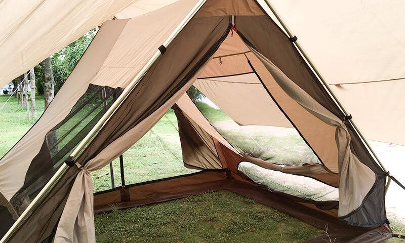 トリアングロは開放的なA型テント